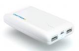 Аккумуляторная батарея (АКБ, аккумулятор) внешняя для мобильных устройств (телефонов, плееров, приставок и пр.), 5V, 2xUSB 1A, 2.1A, с фонариком, UNI 750, 7500mAh, Craftmann