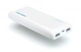 Аккумуляторная батарея (АКБ, аккумулятор) внешняя для мобильных устройств (телефонов, плееров, приставок и пр.), 5V, 2xUSB 1A, 2.1A, с фонариком, UNI 1500, 15000mAh, Craftmann